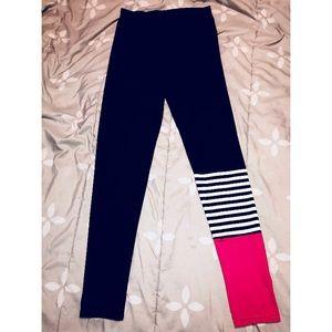 Pants - Black and pink printed leggings